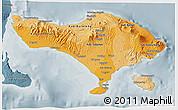 Political Shades 3D Map of Bali, semi-desaturated