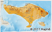 Political Shades 3D Map of Bali, shaded relief outside