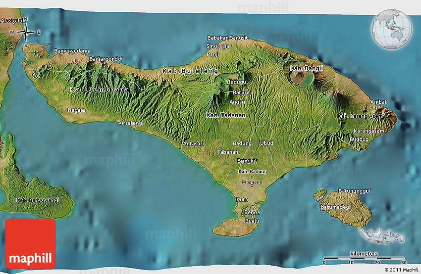 Satellite 3D Map of Bali