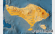 Political Shades Map of Bali, darken