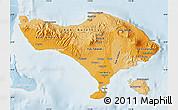 Political Shades Map of Bali, lighten
