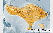 Political Shades Map of Bali, semi-desaturated