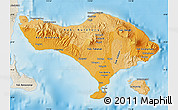 Political Shades Map of Bali, shaded relief outside