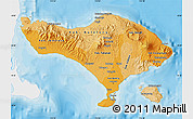 Political Shades Map of Bali, single color outside