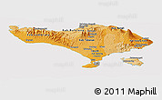 Political Shades Panoramic Map of Bali, cropped outside