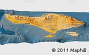 Political Shades Panoramic Map of Bali, darken