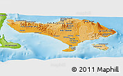 Political Shades Panoramic Map of Bali, physical outside