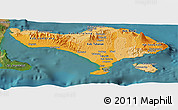 Political Shades Panoramic Map of Bali, satellite outside