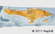Political Shades Panoramic Map of Bali, semi-desaturated