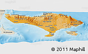 Political Shades Panoramic Map of Bali, shaded relief outside