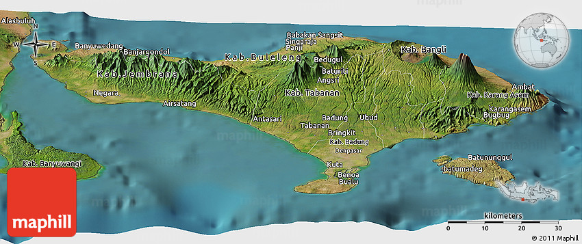 satellite panoramic map of bali
