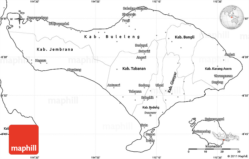 Blank Simple Map of Bali