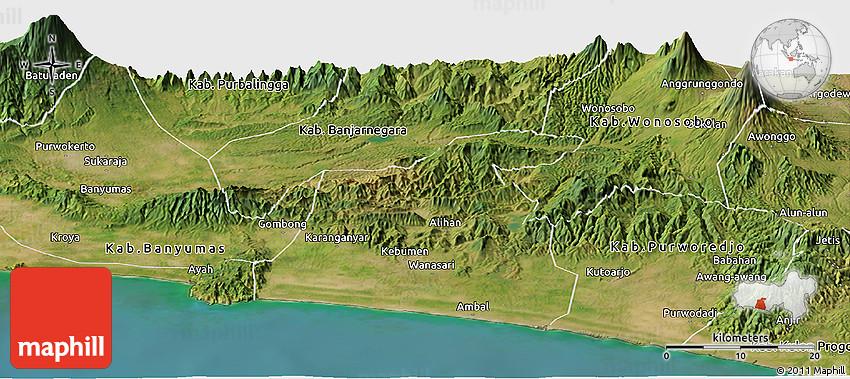 Kebumen Indonesia  city photos : Satellite Panoramic Map of Kab. Kebumen
