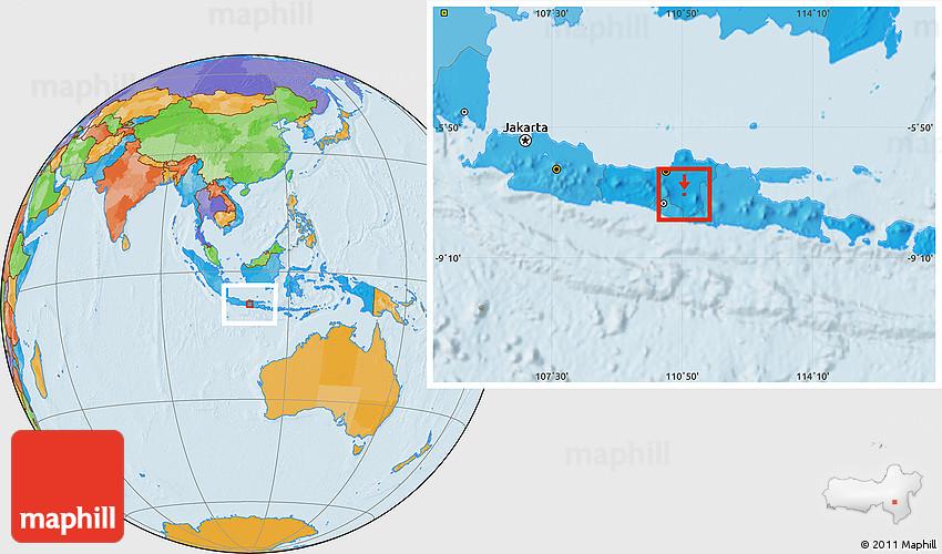 Political Location Map of Kodya. Surakarta