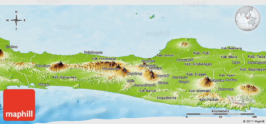 Physical Panoramic Map of Central Java
