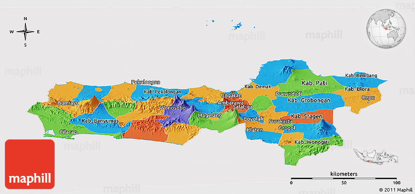 political panoramic map of central java cropped outside