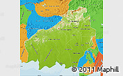 Physical Map of Central Kalimantan, political outside