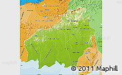 Physical Map of Central Kalimantan, political shades outside
