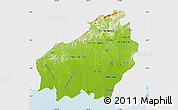 Physical Map of Central Kalimantan, single color outside