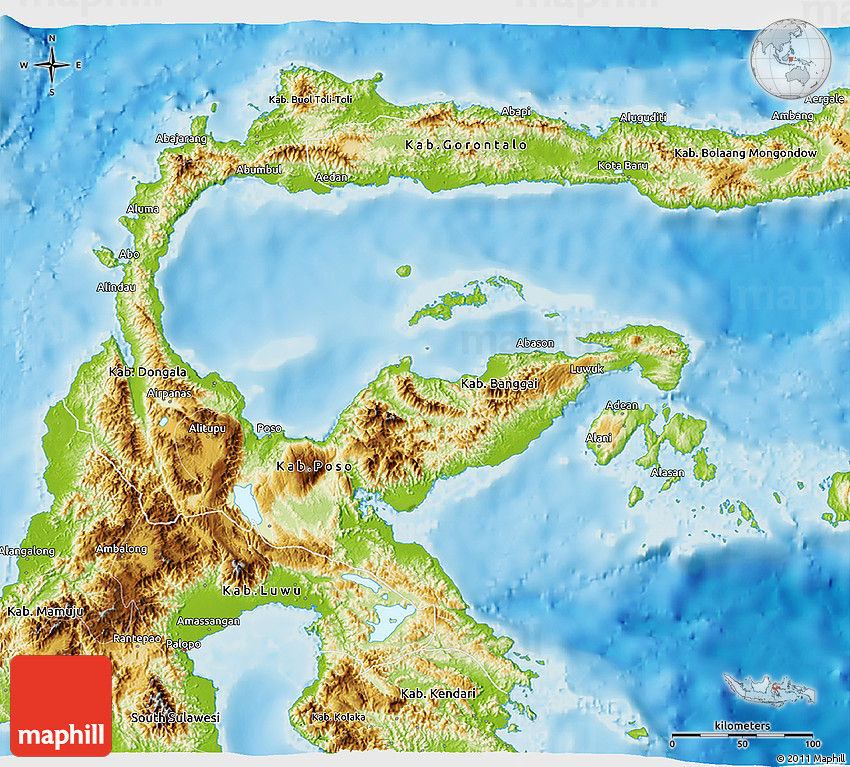 Physical 3D Map of Central Sulawesi