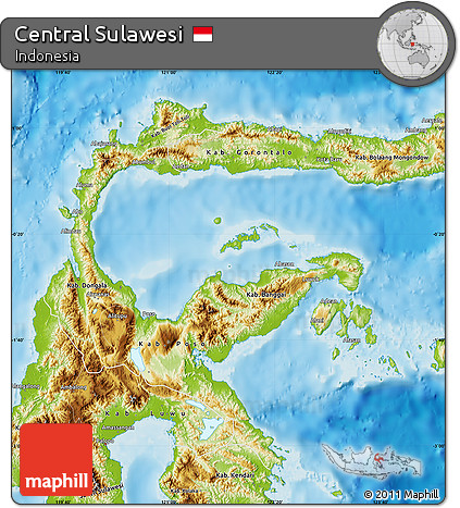 Free Physical Map of Central Sulawesi