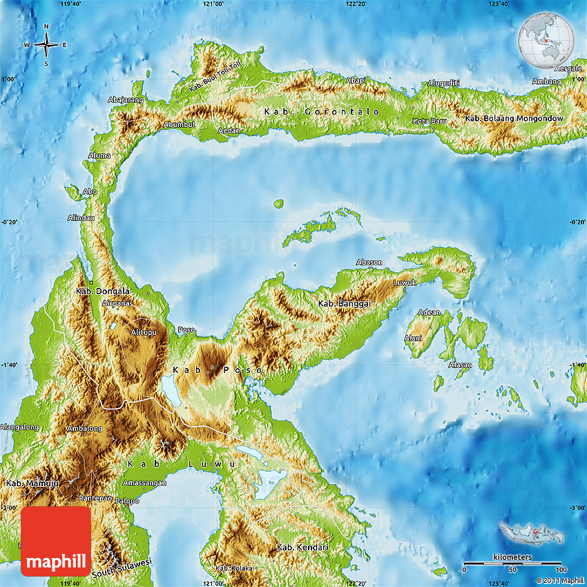 Physical Map of Central Sulawesi