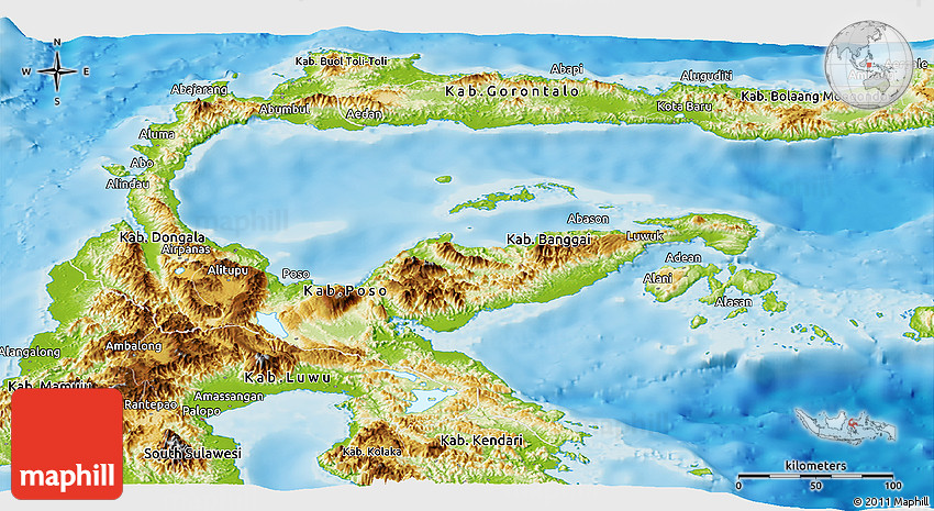 Physical Panoramic Map of Central Sulawesi