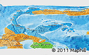 Political Shades Panoramic Map of Central Sulawesi