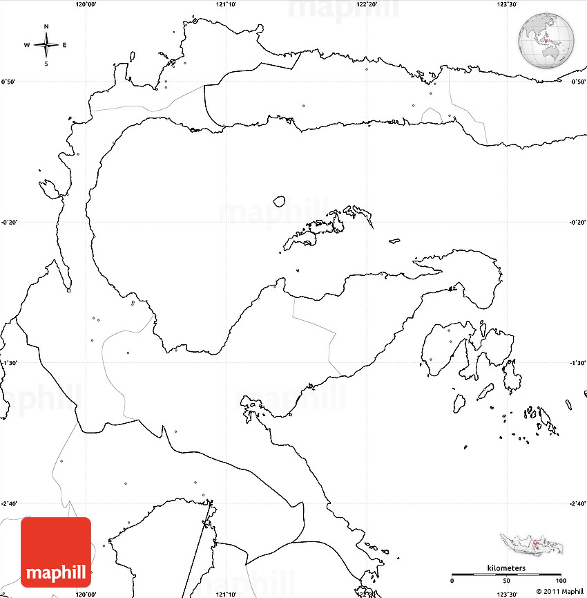 Blank Simple Map of Central Sulawesi no labels