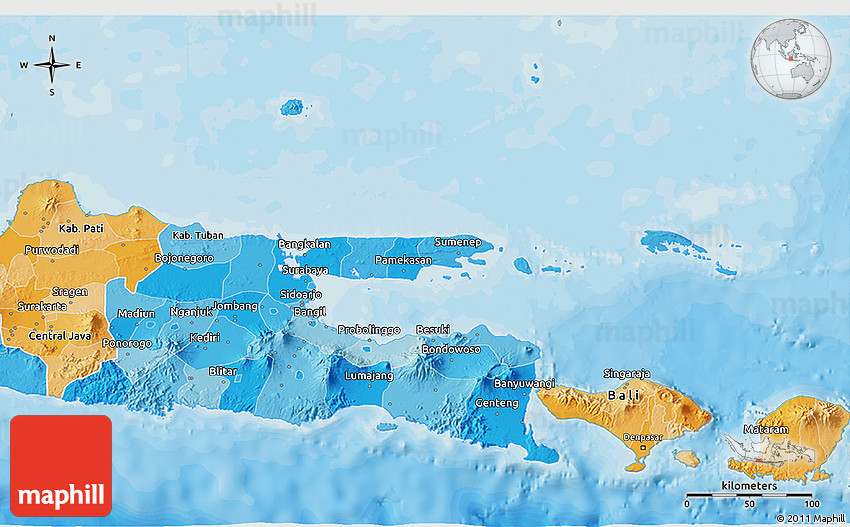 Political shades 3d map of east java 2d gumiabroncs Image collections