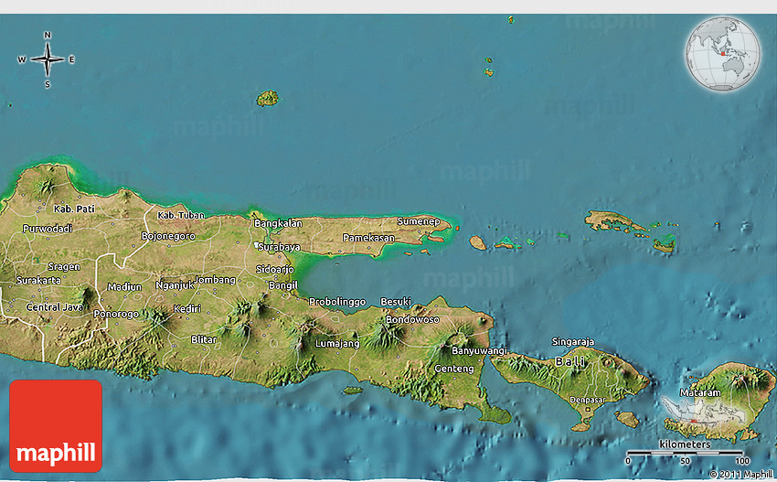 Satellite 3d map of east java 2d gumiabroncs Choice Image