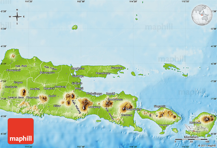 Physical map of east java 2d publicscrutiny Image collections