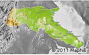 Physical Map of Kab. Berau, desaturated