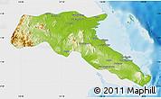 Physical Map of Kab. Berau, single color outside