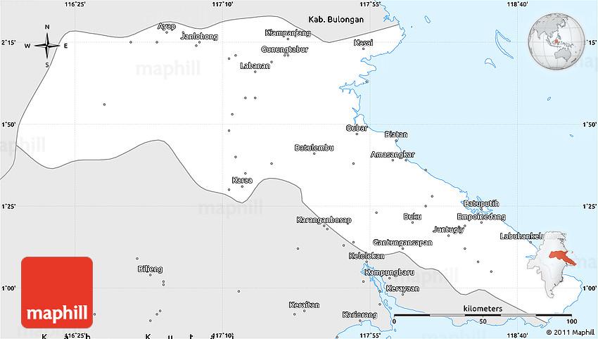 Silver Style Simple Map Of Kab Berau