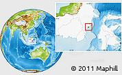 Physical Location Map of Kodya. Balikpapan, highlighted country