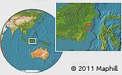 Satellite Location Map of Kodya. Balikpapan