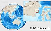 Shaded Relief Location Map of Kodya. Balikpapan