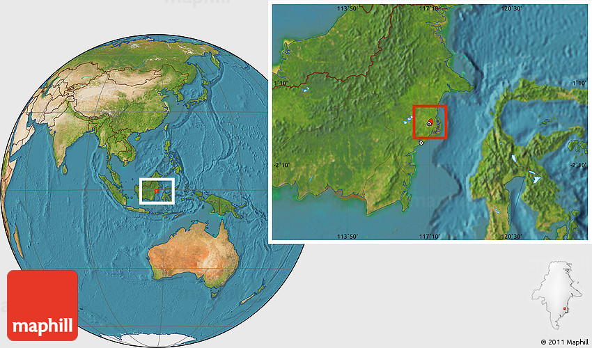 Satellite Location Map of Kodya. Samarinda