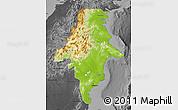 Physical Map of East Kalimantan, darken, desaturated