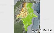 Physical Map of East Kalimantan, darken, semi-desaturated