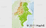 Physical Map of East Kalimantan, lighten
