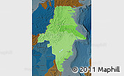 Political Shades Map of East Kalimantan, darken