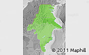 Political Shades Map of East Kalimantan, desaturated