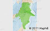 Political Shades Map of East Kalimantan, lighten