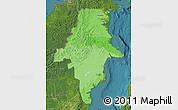 Political Shades Map of East Kalimantan, satellite outside