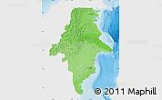 Political Shades Map of East Kalimantan, single color outside