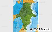 Satellite Map of East Kalimantan, political shades outside