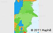 Political Shades Simple Map of East Kalimantan, political outside