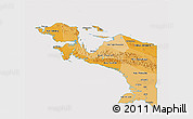 Political Shades 3D Map of Irian Jaya, cropped outside